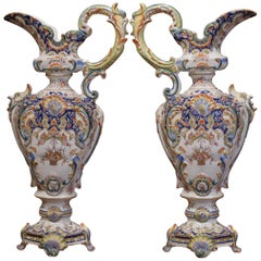 Pair of 19th Century French Hand Painted Faience Ewers Jars from Rouen