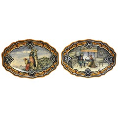 Pair of 19th Century French Hand Painted Faience Oval Wall Platters from Nevers