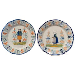 Pair of 19th Century French Hand Painted Faience Plates Signed Henriot Quimper