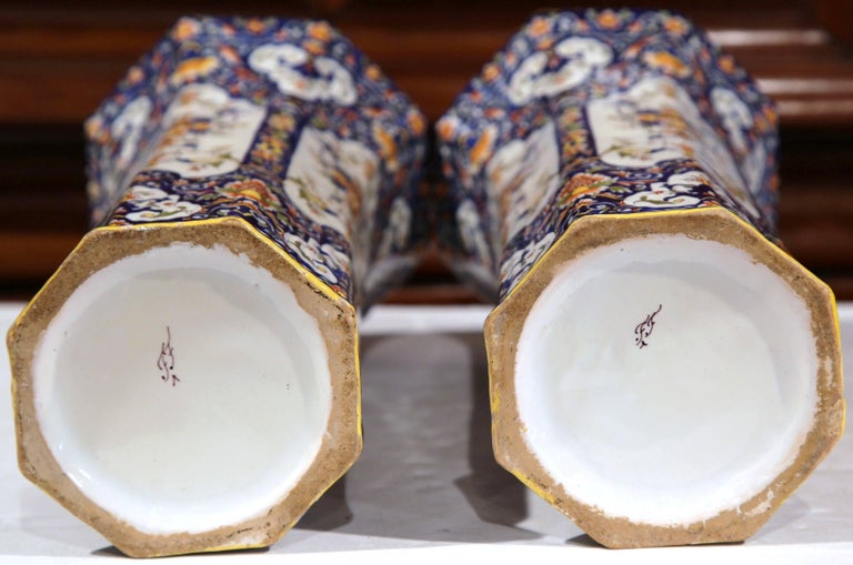 Pair of 19th Century French Hand Painted Faience Trumpet Vases from Normandy 5