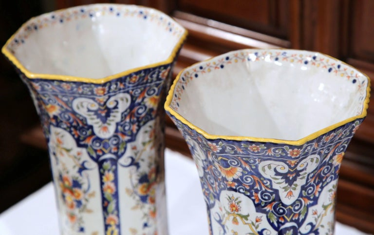 Hand-Crafted Pair of 19th Century French Hand Painted Faience Trumpet Vases from Normandy