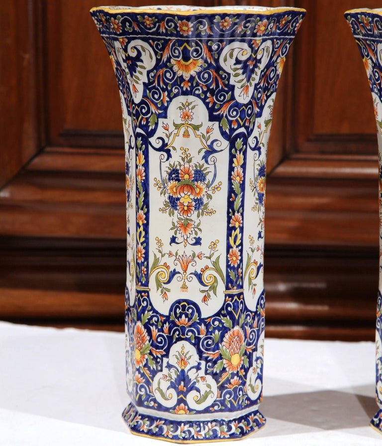 Pair of 19th Century French Hand Painted Faience Trumpet Vases from Normandy In Excellent Condition In Dallas, TX