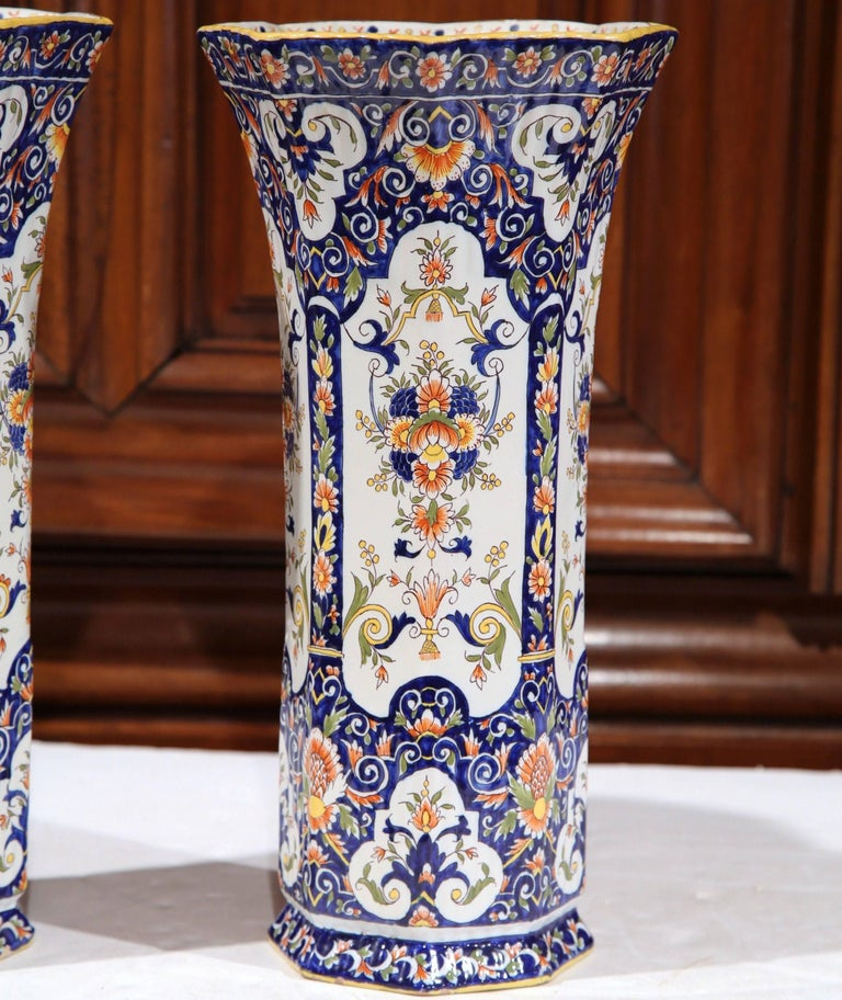 Ceramic Pair of 19th Century French Hand Painted Faience Trumpet Vases from Normandy