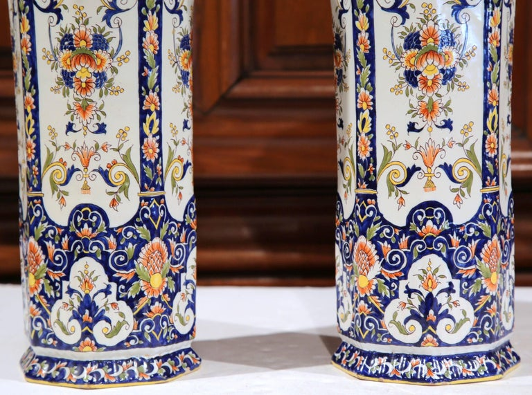 Pair of 19th Century French Hand Painted Faience Trumpet Vases from Normandy 1