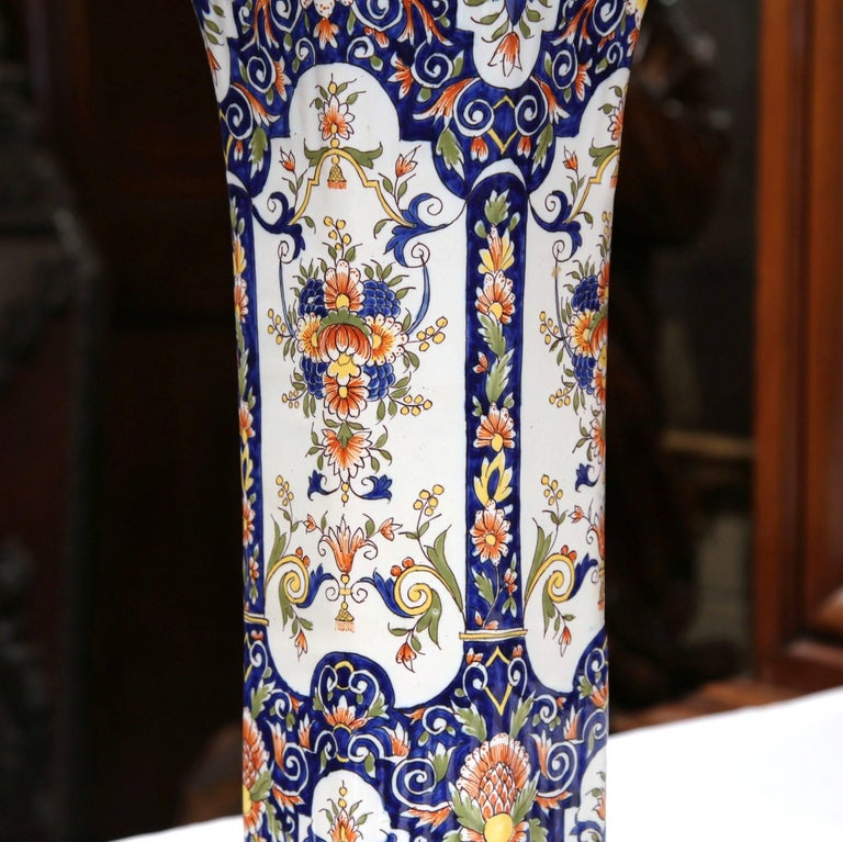 Pair of 19th Century French Hand Painted Faience Trumpet Vases from Normandy 3