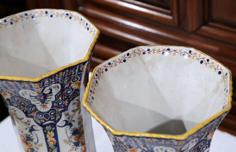 Pair of 19th Century French Hand Painted Faience Trumpet Vases from Normandy 4