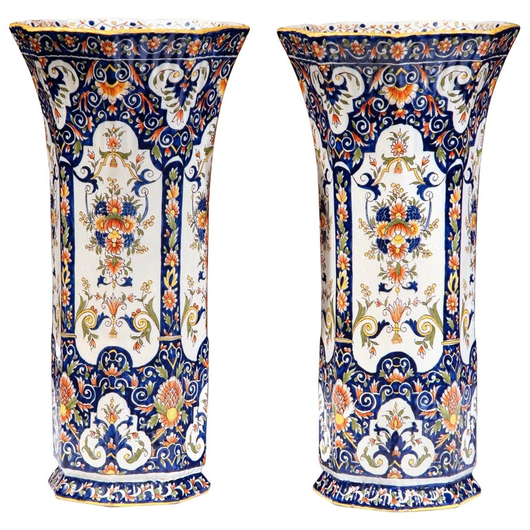 Pair of 19th Century French Hand Painted Faience Trumpet Vases from Normandy