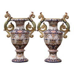 Pair of 19th Century French Hand Painted Faience Vases from Rouen
