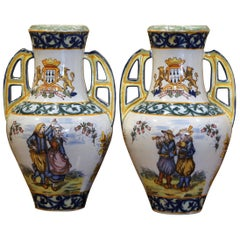 Pair of 19th Century French Hand Painted Faience Vases Signed HR Quimper