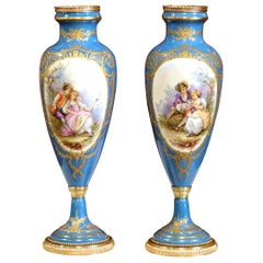 Pair of 19th Century French Hand Painted Porcelain and Bronze Blue Sevres Urns