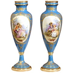 Pair of 19th Century French Hand-Painted Porcelain and Bronze Blue Sevres Vases