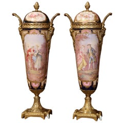 Pair of 19th Century French Hand Painted Porcelain and Bronze Sevres Urns