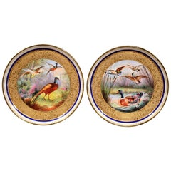 Pair of 19th Century French Hand Painted Porcelain Bird Plates Signed F. Chamel