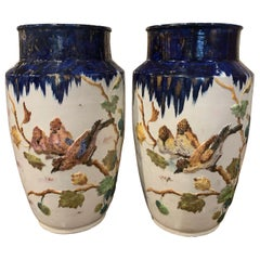 Pair of 19th Century French Hand Painted Porcelain Vases Signed Longchamp