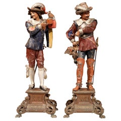 Pair of 19th Century French Hand Painted Spelter Musketeer Figures on Stand