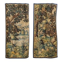 Pair of 19th Century French Handmade Vertical Tapestries with Pastoral Scenes