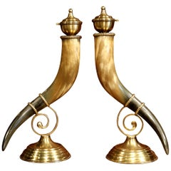 Pair of 19th Century French Horns Cornucopia Vases on Brass Mounts Stands
