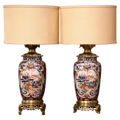 Pair of 19th Century French Imari Hand Painted Porcelain and Bronze Table Lamps