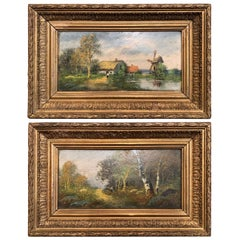 Pair of 19th Century French Landscape Paintings in Gilt Frames Signed M. Max