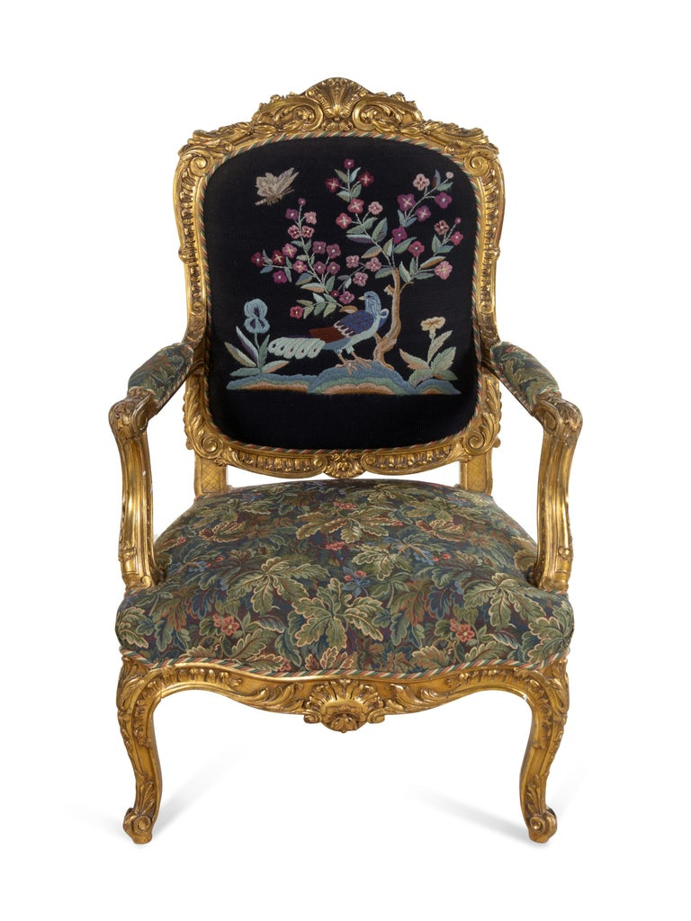 Wood Pair of 19th Century French Large Louis XV Giltwood Fauteuils For Sale