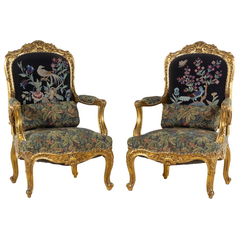 Pair of 19th Century French Large Louis XV Giltwood Fauteuils For Sale