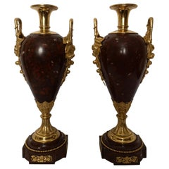 Pair of 19th Century French Large Red Marble and Ormolu Urns