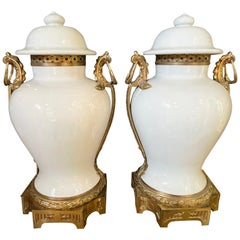 Pair of 19th Century French Lidded Baluster Vases / Urns Porcelain & Dore Bronze