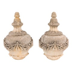 Pair of 19th Century French Limestone Covered Urns