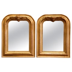 Pair of 19th Century French Louis Philippe Giltwood Mirrors with Angel Decor