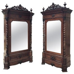 Pair of 19th Century French Louis Philippe Period Mahogany Armoires