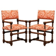 Pair of 19th Century French Louis XIII Carved and Turned Walnut Armchairs