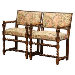 Pair of 19th Century French Louis XIII Carved Walnut Barley Twist Armchairs