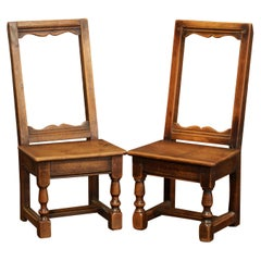 Pair of 19th Century French Louis XIII Carved Walnut Children or Dolls Armchairs