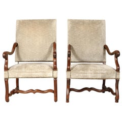 Pair of French Louis XIII Style Os de Mouton Armchairs