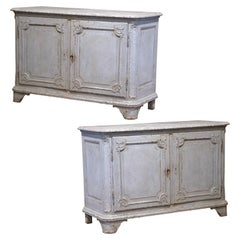 Pair of 19th Century French Louis XIV Bombe Painted Buffets with Faux Marble Top
