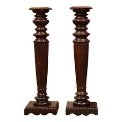 Pair of 19th Century French Louis XIV Carved Oak Pedestal Tables