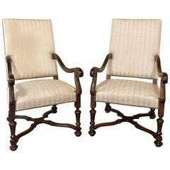 Pair of 19th Century French Louis XIV Walnut Armchairs