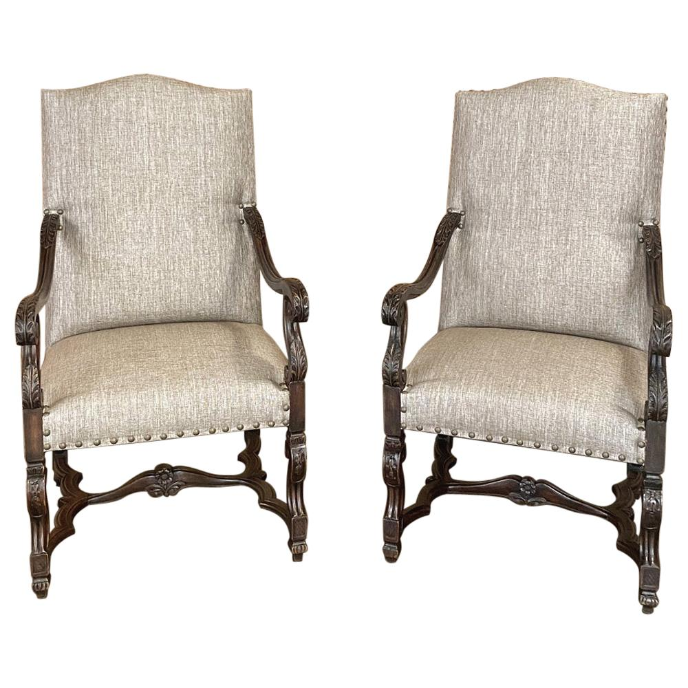 Pair of 19th Century French Louis XIV Walnut Fauteuils or Armchairs