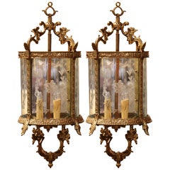 Pair of 19th Century French Louis XV Bronze and Etched Glass Four-Light Lanterns