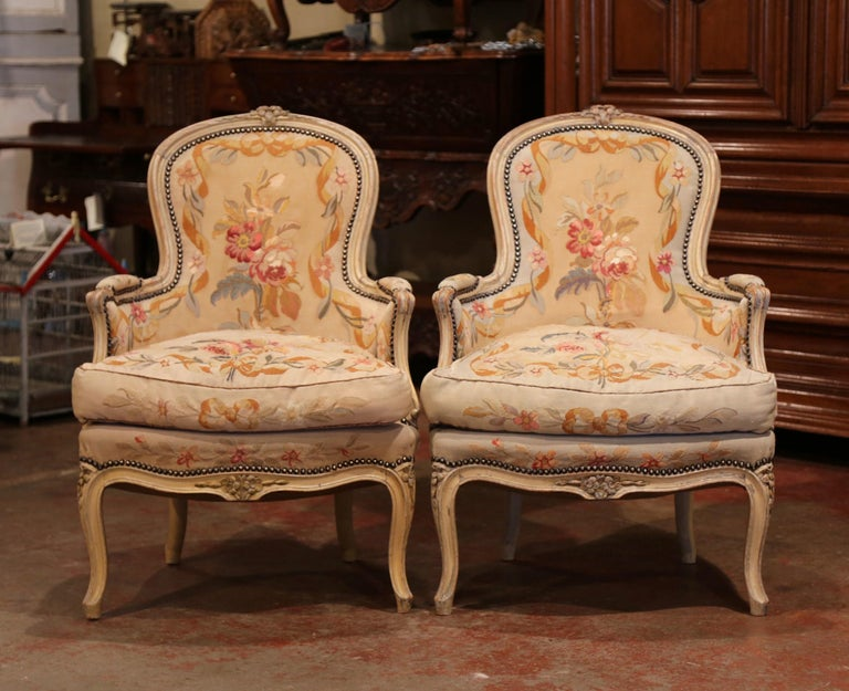 Hand-Painted Pair of 19th Century French Louis XV Carved Armchairs with Aubusson Tapestry For Sale