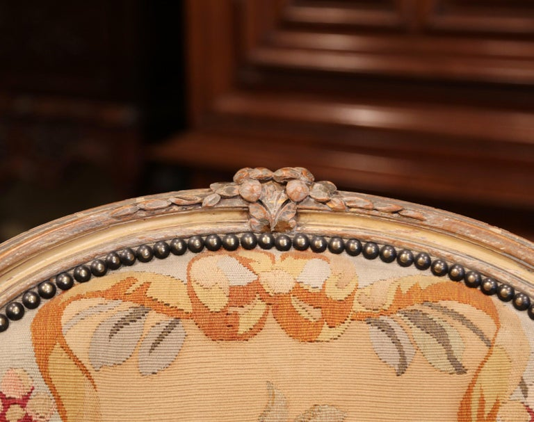 Pair of 19th Century French Louis XV Carved Armchairs with Aubusson Tapestry For Sale 3
