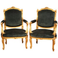 Pair of 19th Century French Louis XV Carved Giltwood Armchairs with Green Velvet