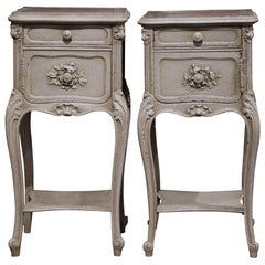 Pair of 19th Century French Louis XV Carved Painted Nightstands with Marble Top