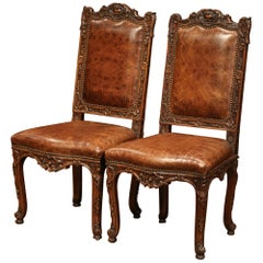Pair of 19th Century French Louis XV Carved Walnut Chairs with Embossed Leather