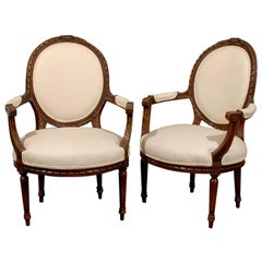 Pair of 19th Century French Louis XV Carved Walnut Fauteuil Side Chairs