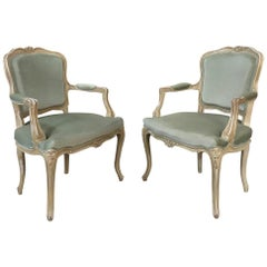 Pair of 19th Century French Louis XV Fauteuils, Armchairs