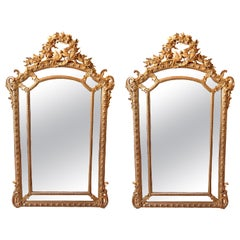 Pair of 19th Century French Louis XV Gilt Carved Mirrors