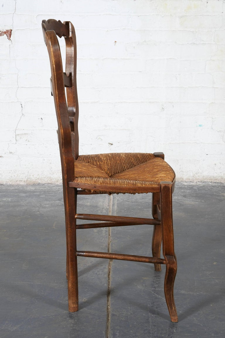 Pair of 19th Century French Louis XV Provincial Walnut Rush-Bottomed Side Chairs For Sale 6