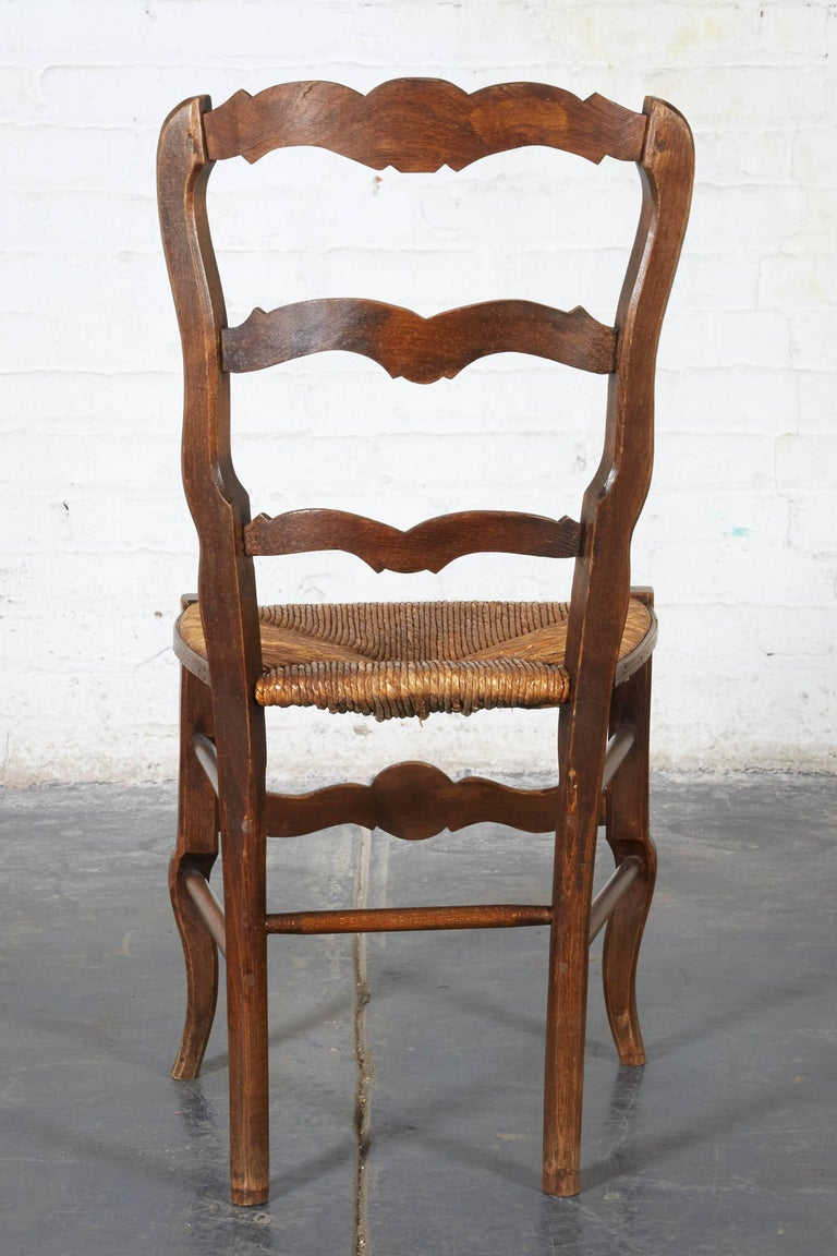 Pair of 19th Century French Louis XV Provincial Walnut Rush-Bottomed Side Chairs For Sale 7