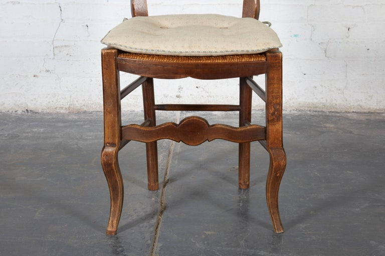 Pair of 19th Century French Louis XV Provincial Walnut Rush-Bottomed Side Chairs For Sale 1